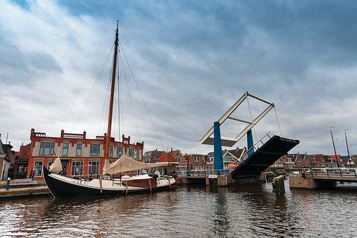 Lemmer, Port, Netherlands, Holland, Channel, Blue, Sky