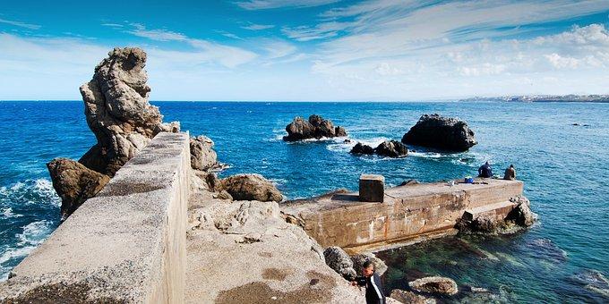 Ain-taya, Port, Sea, Algeria, Blue, Rock, Mediterranean