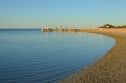 Beach, Jetty, Calm, Sunset, Sea, Landscape, Coast
