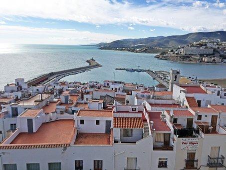 Port, Sea, Peñíscola, People, Panoramic View, Sky