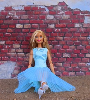 Barbie, Doll, Blonde, Sitting, Brick Wall, Posing