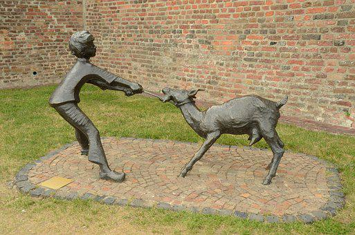 Image, Statue, Boy, Goat, Draw, Brass, Opposition