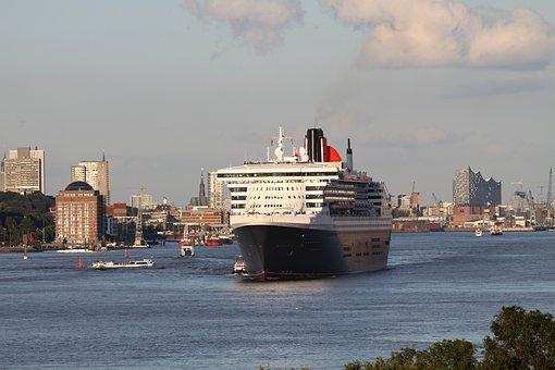 Queen Mary, Hamburg, Elbe, Queen, Ship, Cruise