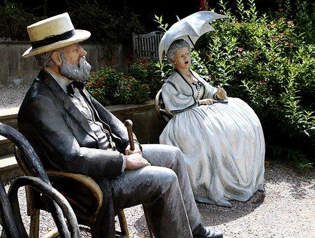 Sculpture, Grounds For Sculpture, Woman, Man, Gown