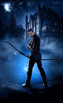 Arrow, Man, Hunt, Moon, Weapon, Hunter, Target, Design