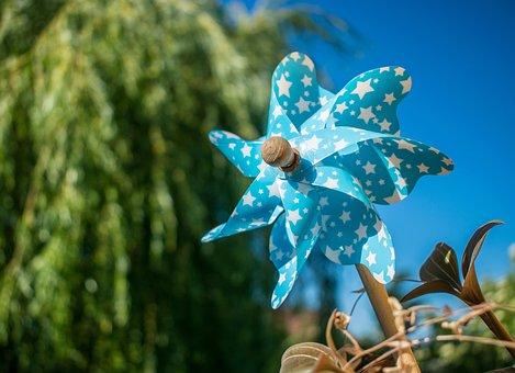 Windmill, Blue, Pinwheel, Green, Wheel, Garden, Summer