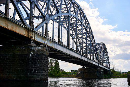Riga, Latvia, Daugava, Bridge, River, Water, Railway