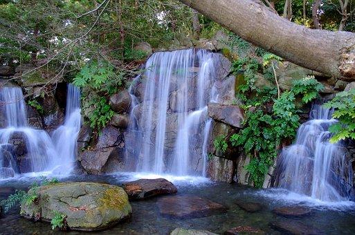 Waterfall, Water, Summer, Japan, Natural, River, Green