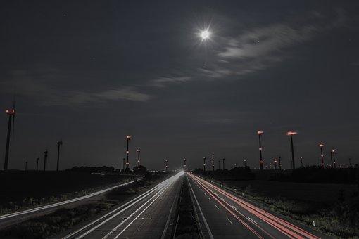Traffic, Night, Long Exposure, Highway, Spotlight