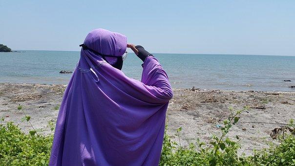 Hijab, Flat, Muslim, Sea