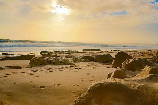 Portugal, Beach, Sunset, Stone, Algarve