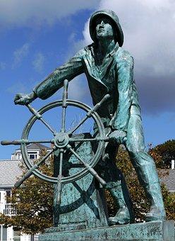 Statue, Gloucester Massachusetts, Fisherman, Wheel