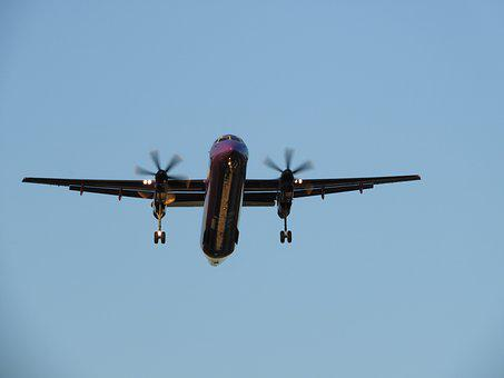 Landing, Aircraft, Machine, Front View, Propeller