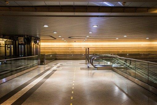 Railway Station, Passage, Escalator, Architecture