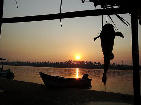 By Sunsets, Sol, Rio, Nature, Boat, Peace, Sunset
