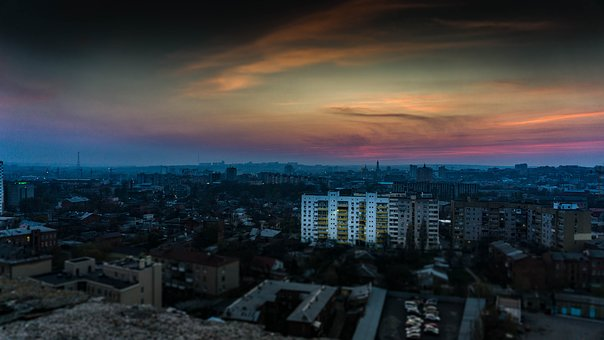 Kharkov, View From The Roof, City, Evening, Skyscrapers