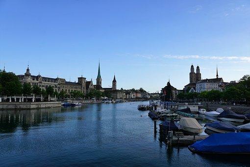 City, Europe, Zurich, Switzerland, Summer, River