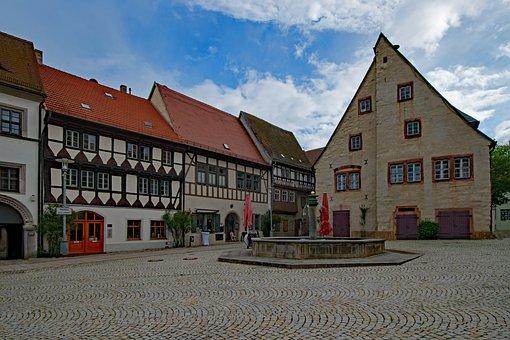 Marketplace, Old Town Hall, Sangerhausen, Saxony-anhalt