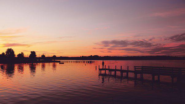 Sunset, Water, Person, Lake, Sea, Web, Sky, Pink