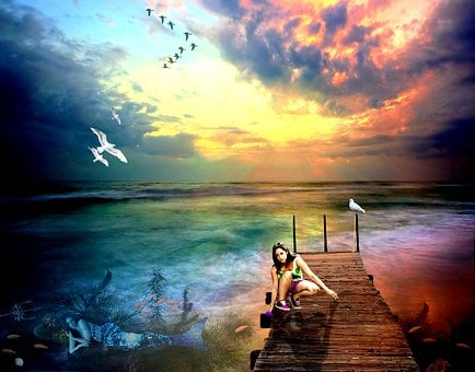 Photoshop, Photo Manipulation, Mermaid, Girl, Sea