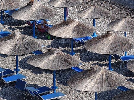 Parasols, Beach, Concerns, Sun, Straw, Sun Lounger