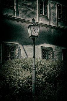 Clock, Hdr, Dark, Horror Movie, Scary, City, Background