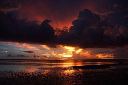Beach, Sunset, Sea, Farbenpracht, Evening Sky