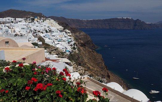 Santorini, Greece, Island, Volcano, Blue, Sea, Travel
