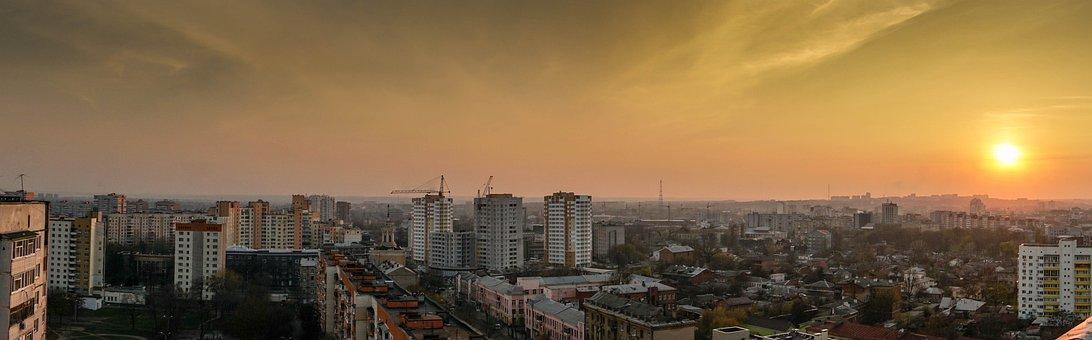 Kharkov, Landscape, Evening, At Home, Skyscrapers