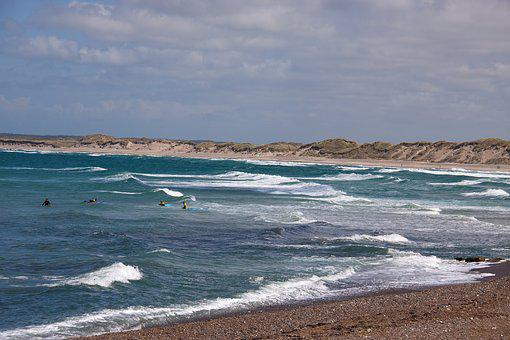 Klitmoeller, Beach, Jutland, Ocean, Waves, Surfers