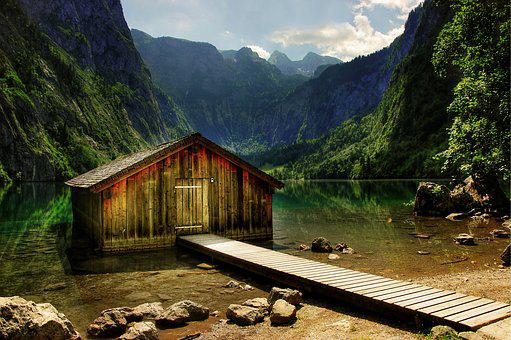 Königssee, Boat House, Atmospheric, Nature, Blue, Lake