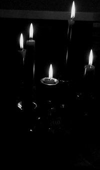 Light, Candles, Black