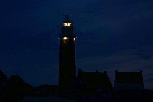 Lighthouse, Texel, Beacon, Holland, Netherlands, Night