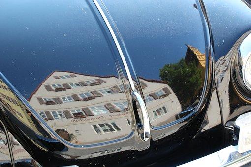 Vw Beetle, Mirroring, Dinosaur, Old Town
