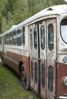 Bus, Vintage, Peeling, Paint, Red, White, Trolley