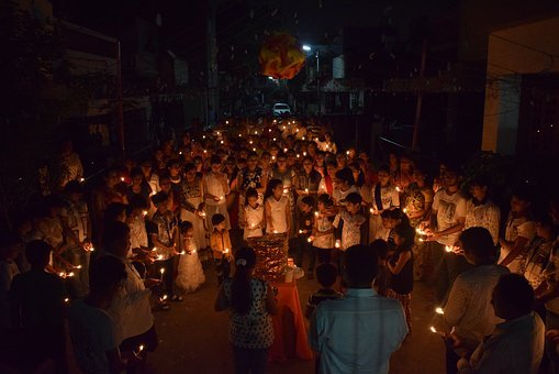 People, Light, Crowd, Human, Night, Candle March, Sad