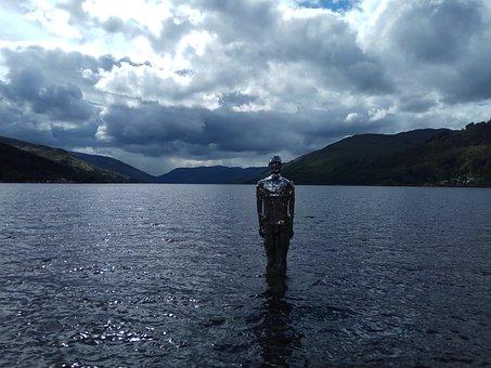 Sculpture, Loch, Lake, Figure, Man On The Loch