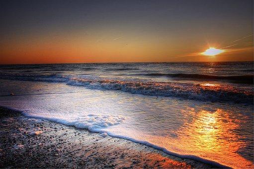 Sun, Denmark, Summer, Sea, Sunset, Nature, Sky