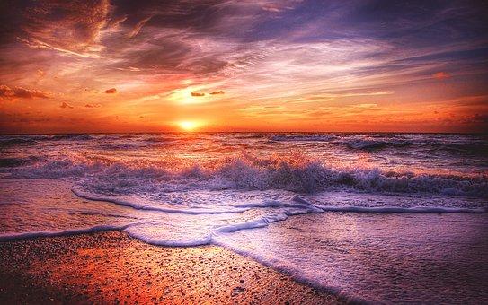 Sun, Denmark, Summer, Sea, Sunset, Nature, Landscape