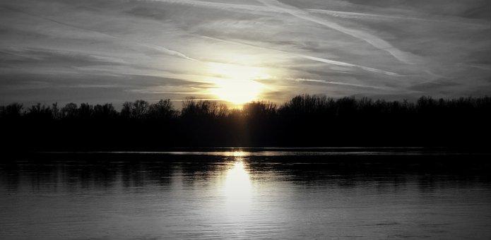 West, The Sun, Sun, Wisla, Sky, River, Landscape