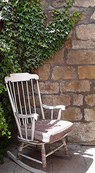 Rocking Chair, Happy, Wall, Backyard, Stuttgart