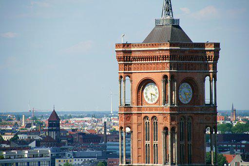 Berlin, Town Hall, Tower, Clock Tower, Clock