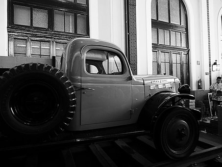 Truck Old, Black And White, Train Station