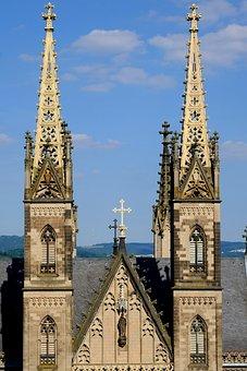 Church Steeples, Church, Steeple, Catholic, Romanesque