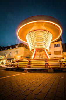 Fair, Light Traces, Colorful, Leisure, Carousel, Lights