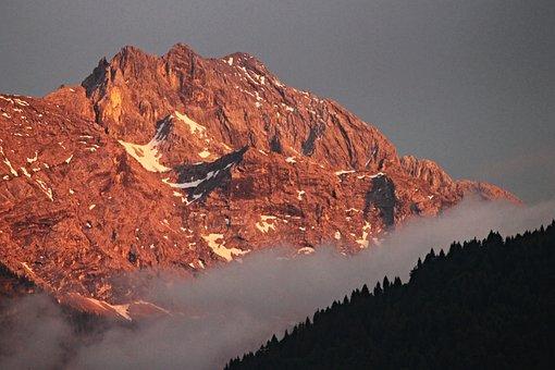 Alpine, Evening Light, Mountains, Summit, Forest, Sky