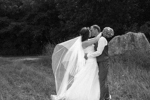 Wedding, Pair, Love, Kiss Flowers, Forest, Rock, Stone