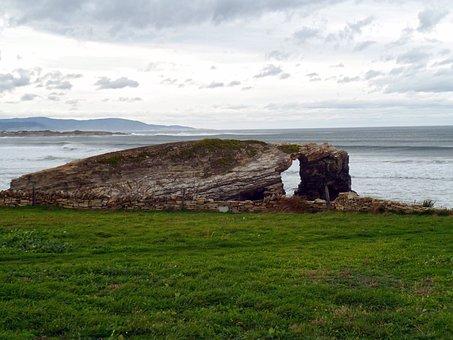 Landscape, Sea, Cave, Stone, The Cathedrals, Galicia