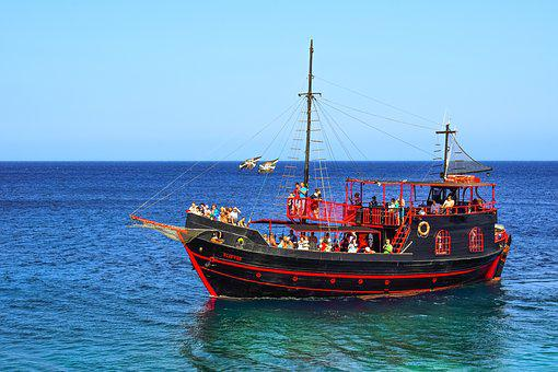 Cruise Boat, Tourism, Leisure, Pirate Ship, Blue