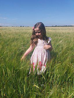Young, Girl, Field, Wheat, Sun, Child, Happy, Little